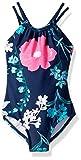Kanu Surf Girls' Big Jasmine Beach Sport Halter One Piece Swimsuit, Paige Floral Navy, 10
