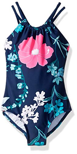 Kanu Surf Girls' Big Jasmine Beach Sport Halter One Piece Swimsuit, Paige Floral Navy, 12