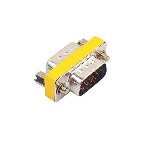 SODIAL DB15 Mini Adaptador Cambiador de genero RS232 Com D-Sub a Macho Conector Hembra VGA 15 15 Pines
