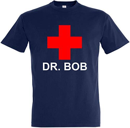 Herren T-Shirt DR. BOB (M, Dunkelblau)