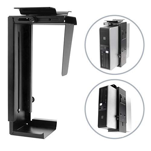 PRIMEMATIK AC65-0002-VCES - Soporte de Caja de Ordenador bajo Mesa o fijación a Pared Ajustable (88-203mm), Color Negro