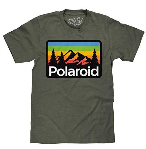 Polaroid Mountains Graphic T-shirt, Military Green, S to 3XL