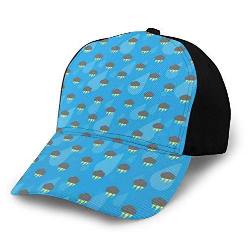 JONINOT Hombres Mujeres Gorra de bisbol Ajustable Patrn de Sombrero con Nubes oscuras Rayo y Gotas de Lluvia sobre Fondo Azul