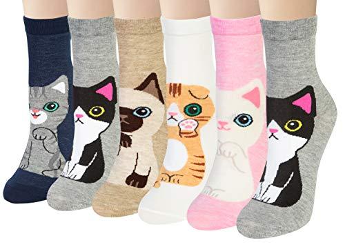 Chalier 6 Pares Calcetines de Animales de Mujer Calcetines Divertidos para Mujer Calcetines para Gatos y Perros