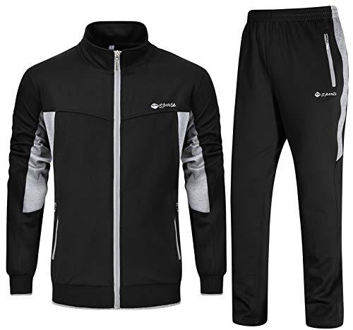 YSENTO Herren Jogginganzug Trainingsanzug Sportanzug Gym Fitness Fußball Sporthose und Trainingsjacke Sportbekleidung(Schwarz+Hellgrau,L)