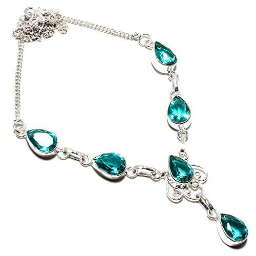 jewels Paradise - Collana con pietra di tormalina afghana fatta a mano in argento Sterling 925 placcato gioielli – Collana regolabile – (SF-1422)