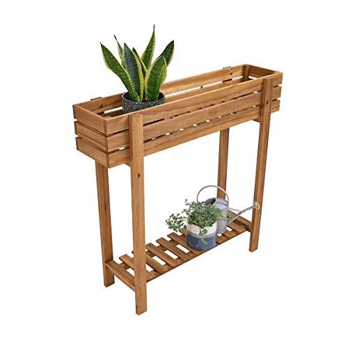 Butlers New Gardening Pflanzkasten - naturfarbiger Kasten - für Balkon und Garten - aus Akazienholz