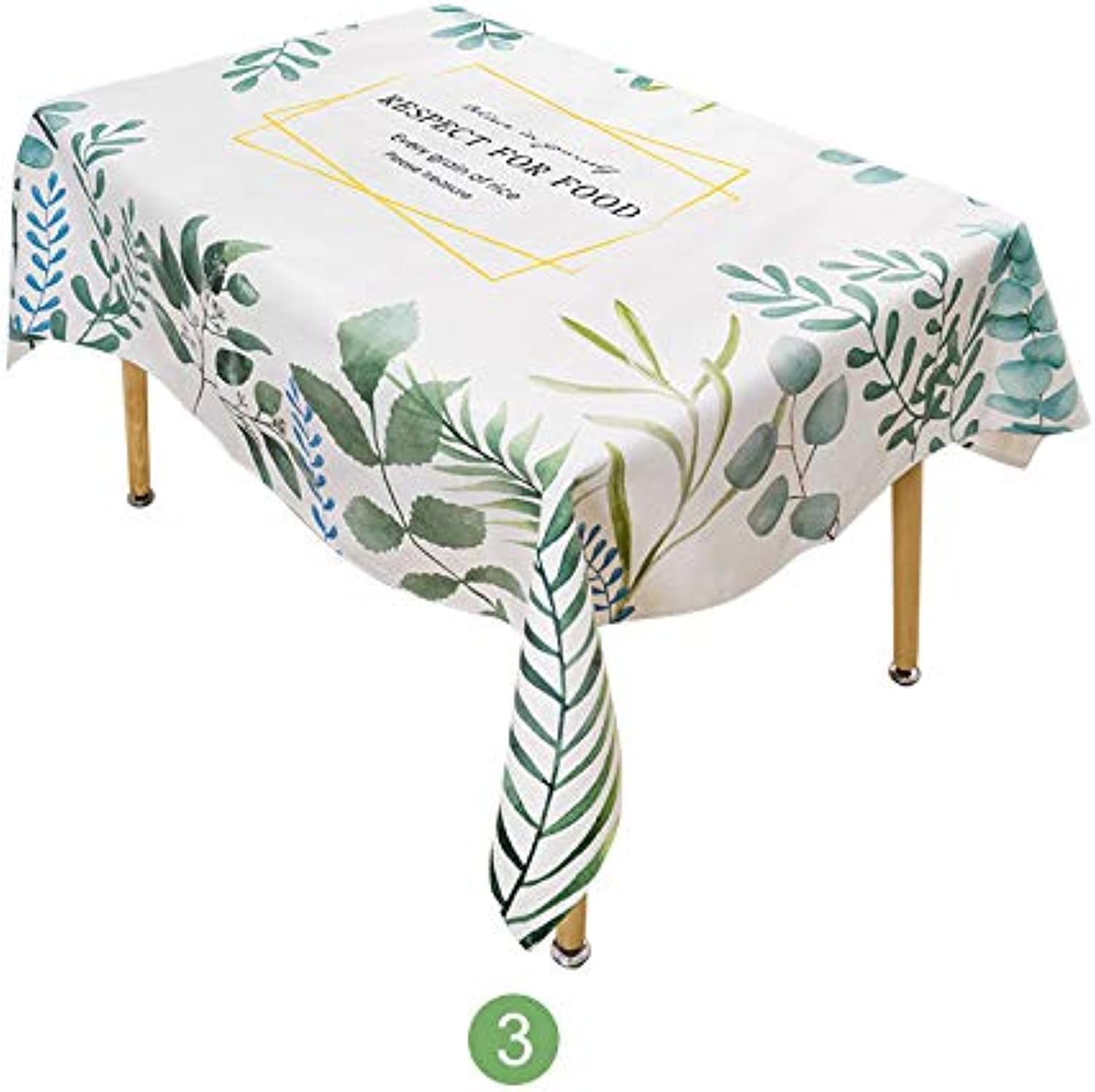 Creek Ywh Nordic ins wind bamboo leaves tablecloth cotton and linen rectangular round table home table desk coffee table cloth, cotton and linen 3 ,200x140cm