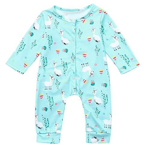 XXYsm Baby Strampler Jungen Mädchen Overall Pyjama Langarm Alpaka drucken Jumpsuit Outfit Spielanzug Blau 70/3-6 Monate