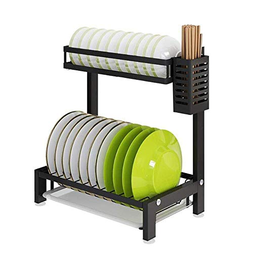 WJSW Küchenregale Doppelschicht-Abtropfgestell mit Besteckhalter, mit Abtropfschale, Abtropfbrett, Tischablage, Edelstahl (Farbe: D)