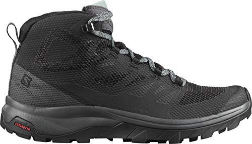Salomon Damskie buty trekkingowe Outline Mid GTX, wysokie, wodoszczelne, wielokolorowa - Czarny Black Magnet Green Milieu - 37 1/3 EU