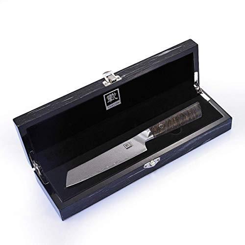 Zayiko Damastmesser Allzweckmesser, Klinge 12,50 cm Länge, sehr hochwertiges Profi Messer mit Ahornholz Griff, Damastklinge und Holzbox, Damastküchenmesser Jun Serie