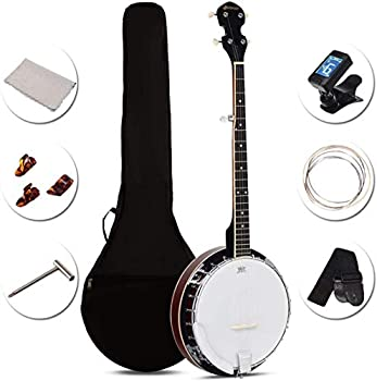 Costzon 5-String Banjo 24 Bracket with Geared 5th Tuner and Mid-range Closed Handle Beginner Kit with 420D Oxford Cloth Bag One Strap Wiper 3 Picks  41.5 IN