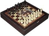 Juego de juegos de mesa de entretenimiento Juegos de ajedrez 12 'Conjunto de ajedrez y verificadores de madera (2 en 1) Conjunto de ajedrez con 3' Piezas de ajedrez de altura King y tablero de ajedrez