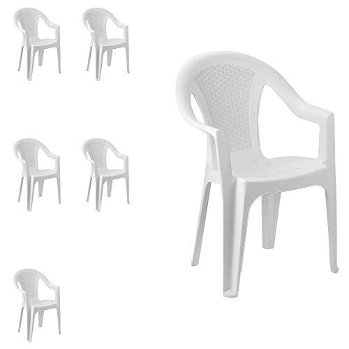 FineHome Set van 6 tuinstoelen, stapelstoel, bistrostoel, tuinstoel, stapelbaar, balkonmeubelen, tuinmeubelen, wit, kunststof rotan look