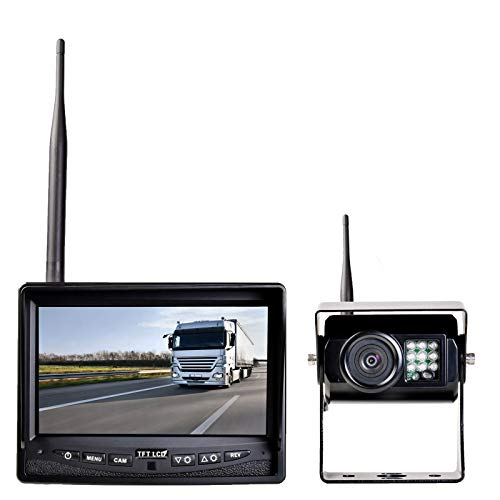 HaWoTEC Auto LKW PKW Funk Rückfahrsystem DIGITAL mit Monitor und Rückfahrkamera und Funkrückfahrkamera + 7' Monitor 12 V 24 V
