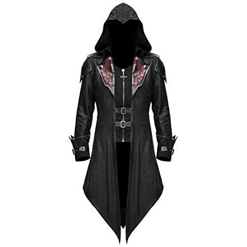 Polyer Chaqueta de FRAC gótica para Hombre, Disfraz de Cosplay Steampunk Negro, Chaqueta Larga, Capa, Capa, Disfraces de Halloween