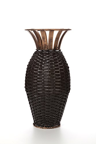 "Hosley 15"" High Iron Weave Floor Vase-Brown and Gold. Ideal Gift for Wedding, Party, Home, Spa, Reiki, Aromatherapy, Votive Candle Gardens O3"