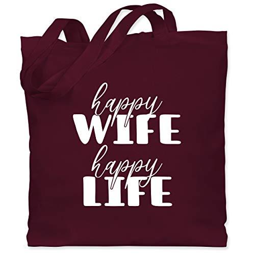 Shirtracer Sprüche - Happy Wife Happy Life Lettering Combi weiß - Unisize - Bordeauxrot - Fun - WM101 - Stoffbeutel aus Baumwolle Jutebeutel lange Henkel
