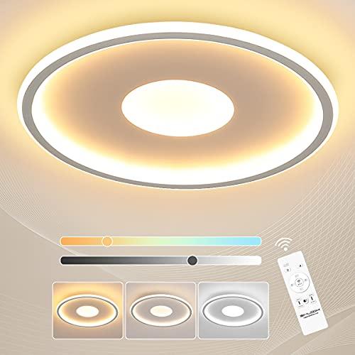 SHILOOK Led Deckenleuchte Dimmbar mit Fernbedienung, 36W 3600LM Deckenlampe 3000k-6000K für Schlafzimmer/Wohnzimmerküche/küche/Kinderzimmer, Rund Weiß Modern Flach, 40cm