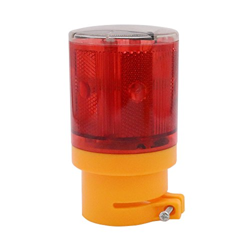 Aolyty LED Solar Strobe Warning Light Flashing Construction Safety Road Barricade Traffic Automatic Vehicle Signal Beacon Lamp Waterproof Automatically Turn on (Red)
