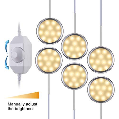 KWOKWEI LED Schrankleuchten, 6er Set Schrankbeleuchtung Schranklicht, Dimmbare Unterbauleuchten Schrank Lichter Kabinett Beleuchtung Warmweiß 12 V Vitrinenbeleuchtung für Schränke, Bücherregal, Küche