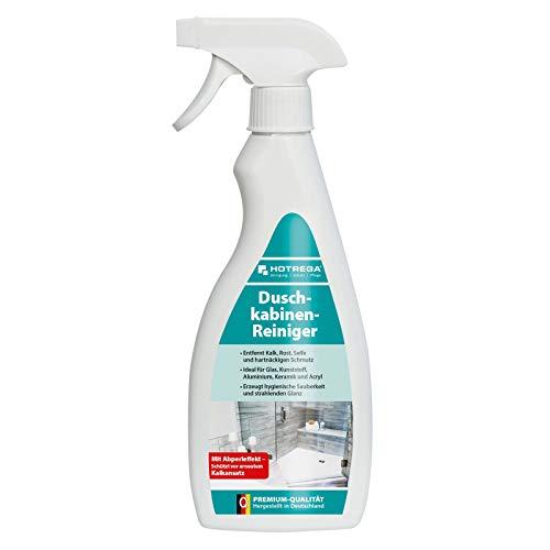 HOTREGA Duschkabinen Reiniger entfernt mühelos Kalk Rost Seife und Schmutz in Bad und Dusche 500ml