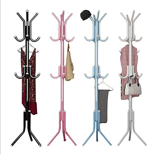 LYLY Perchero con 12 ganchos de metal para colgar el suelo, para colgar ropa, sombreros, fácil montaje, muebles para el árbol de entrada, color negro