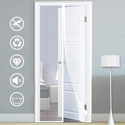 HXCD Fly Screens For Doors Mosquito Screen Self-Closing Magnetic Mesh Screen Door Automatic Close for French Doors, In Greenhouse, Household Doors - White 95x200cm(37x79inch)
