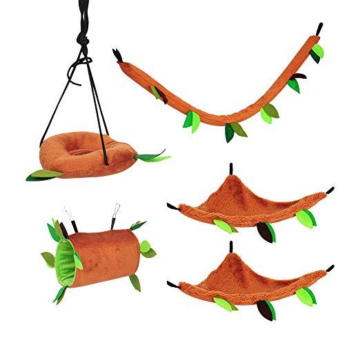 Sobotoo - Juego de 5 juguetes para mascotas para hámster, hamacas, colgar, camas, hojas de azúcar, jaula de juguete para ardillas, jerbo, rata, chinchillas, cobayas