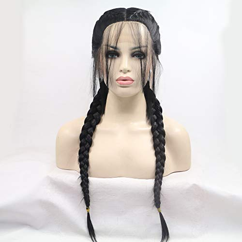 Melody Wig 1B Black Double Braid Middle Part Synthetic Lace Front Wigs For Women Heat Resistant Fiber Hair 24''