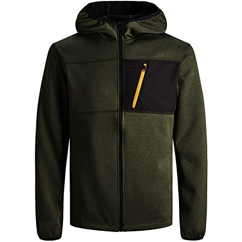 JACK & JONES Herren Jacke Fleece Sweat Softshell Übergang Jacket (L, Grün)