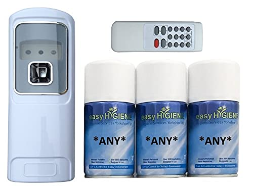 Remote Control Automatic Air Freshener Dispenser and 3 Refills auto Fresh Spray cans