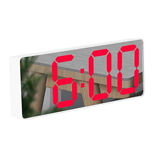FIONAT Reloj Despertador Espejo Led Reloj Digital Control De Voz Posponer Tiempo Pantalla De Temperatura Modo Nocturno Niños para El Dormitorio Oficina Decoración De Escritorio Despertadores-D