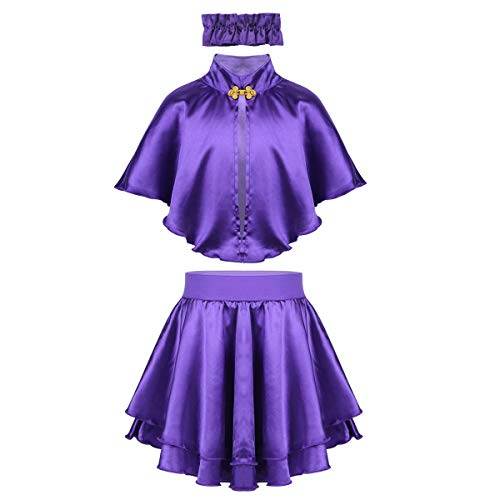 Agoky Girls Role Play Costume Purple Cape with Short Skirt and Neck Choker Outfit Halloween Party Musicals Fancy Dress Purple 8-10 Years