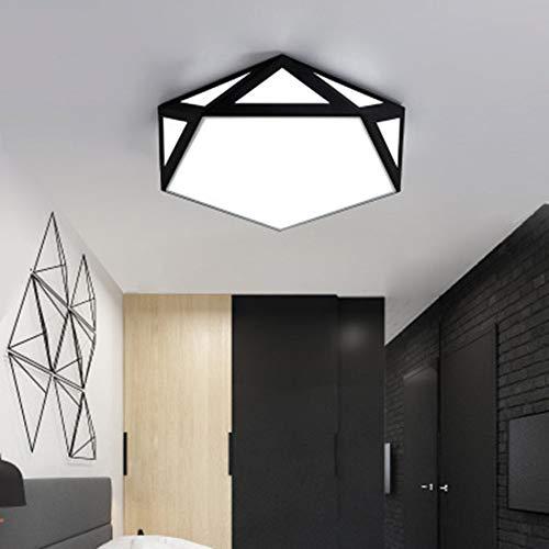 JminJC LED Plafonnier Blanc Noir Vous Pouvez Choisir Trois Tailles De Diamant Moderne Chaud Et Moderne Creux Creux,Black-50CM-SteplessDimming