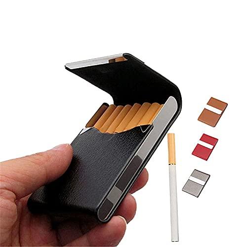 Leather Cigarette Case Box - Regular Size Cigarette Pocket Holder, Cigarette Carrying Case for Men and Women (Black)