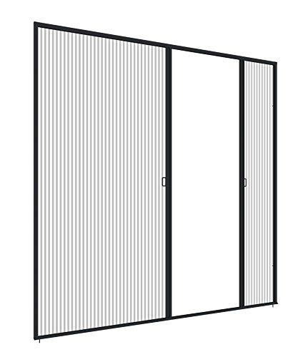 Windhager Insektenschutz Plissee-Tür Expert Fliegengitter Alurahmen für Türen, individuell kürzbar, extra groß für Doppeltüren, anthrazit, 240 x 240 cm, 03958
