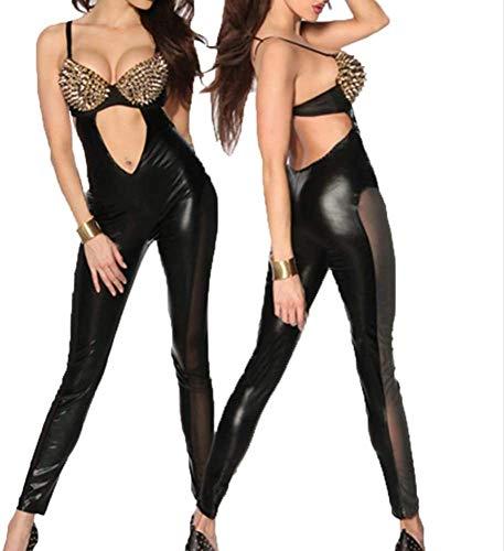 GWQDJ Damen Wet Look Lackleder Dessous Langärmlose Trikot Bodysuit Teddy Kunstleder Dessous Set Halloween Performance Party Kleid Spiel Kostüm,S