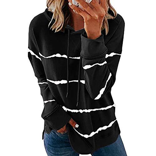 GOKOMO Stripe Print Sweatshirts für Frauen Spleißen Kapuze Langarm Langarm T-Shirt...