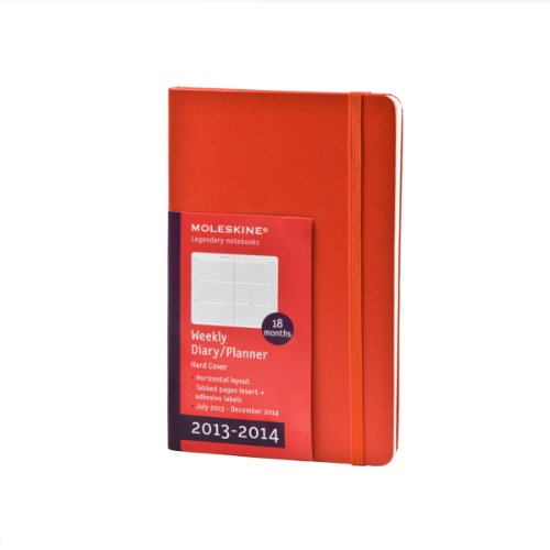 Moleskine Wochen-Notizkalender 18 Monate 2013-2014 / Pocket / Fester Einband / Rot (Moleskine Diaries)