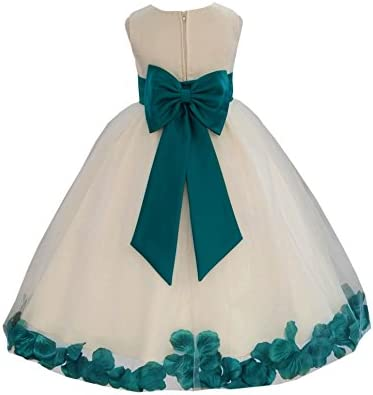 Ivory Flower Girl Dress Red Teal Blue Wisteria Apple Green Blush Pink 814T 4 product image