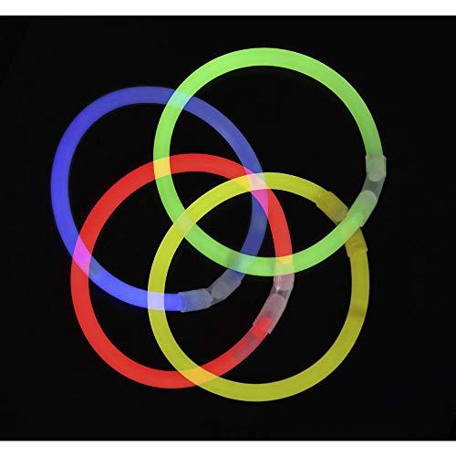 """100 Knicklichter 7-FARBMIX, Testnote: 1,4 \""""SEHR GUT\"""", Komplett-Set inkl. 100x TopFlex-, 2x Dreifach- und 2x Ball-Verbindern"""
