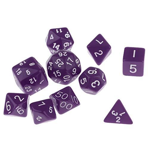 perfeclan 10 Piezas D4-D30 Dados de Varios Lados para Mazmorras Y Dragones D&D Juego de - púrpura, 130x70x4mm