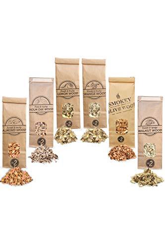 Smokey Olive Wood 6X 500mL Räuchermehl, Oliven-, Mandel-, Eichen-, Orangen-, Zitronen- und Walnussholz. Räucherspäne der Größe Nº2: 0,5-1cm