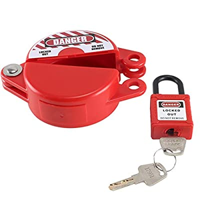 Anpatio 1-2.5 inches Rotating Gate Valve Lockout Plastic Outdoor Water Hose Protector Cover with Safety Padlock for Faucet Knob, Spigot & Standard Propane Gas from Anpatio