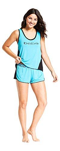 bebe Womens Scoop Neck Sleeveless Two Tone Sleep Top Pajama Shorts Set Turquoise Large