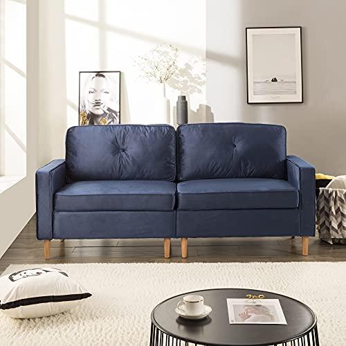 Divano a 3 posti, divano per soggiorno, comodo divano con elementi di design discreti, nucleo in molle e schiena sciolta, 194 x 76 x 90 cm (blu)