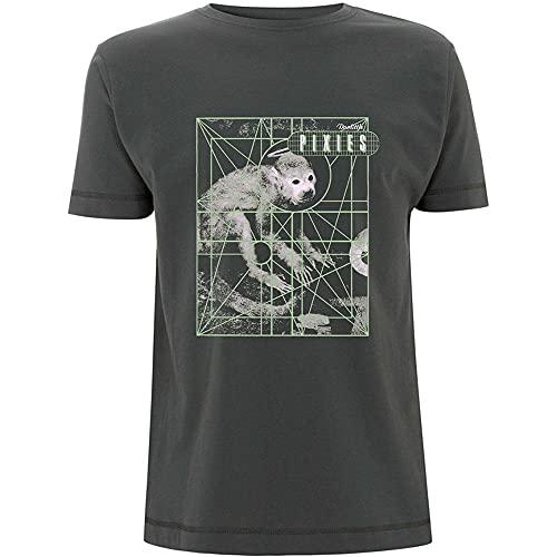 Pixies Monkey Grid Hombre Camiseta Gris Marengo XXL, 100% algodón, Regular