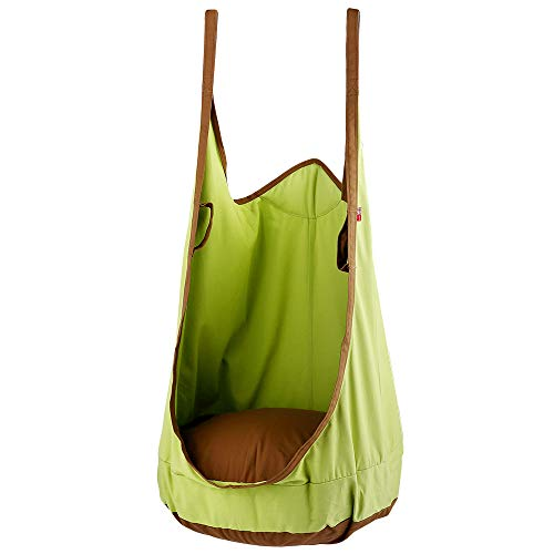 Relax love Hanging Seat Hammock Pod Swing Chair Nook Tent Indoor Outdoor Use Max 75KG with Full Accessories for Kids (Green)